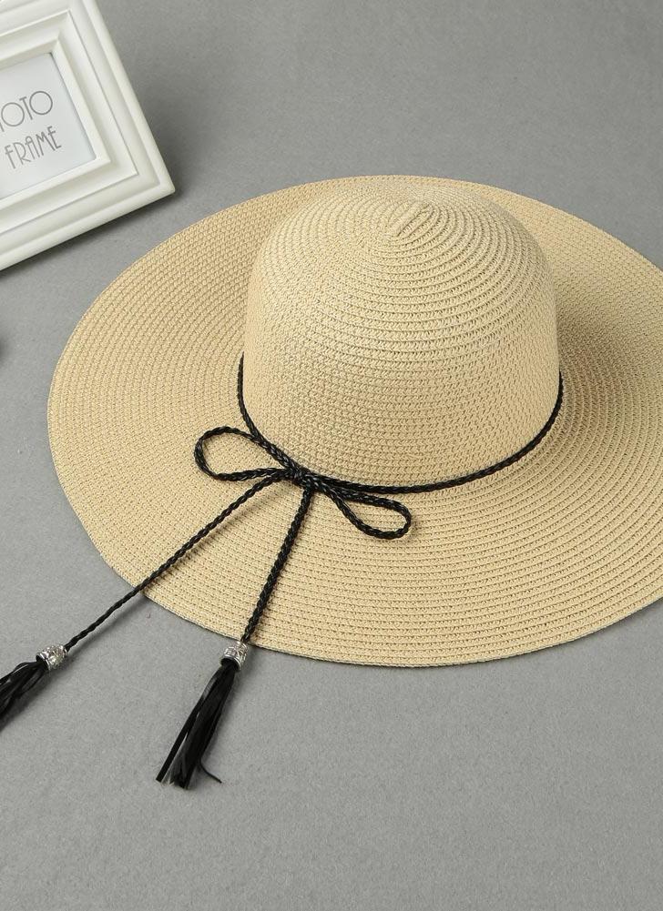 Estate donne di modo Cappello floscio di paglia Tesa larga nappa pieghevole  Sun Beach di vacanza 058867659ae8