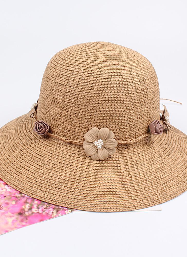 Летние женщины Цветочная соломенная шляпа Гарланд Широкий брим Sun Beach Cap Цветочные Fedora Trilby Hat
