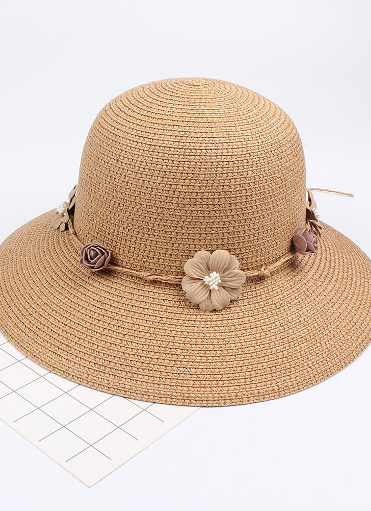 Summer Women Flower Straw Hat Garland Wide Brim Sun Beach Cap Floral Fedora Trilby Hat