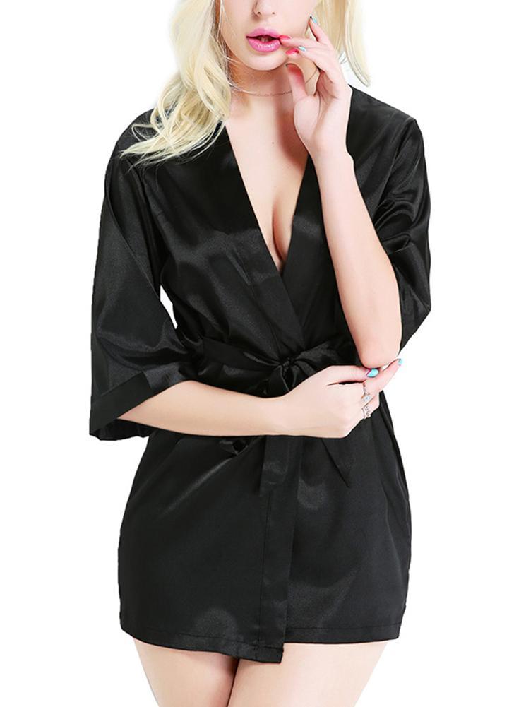 schwarz einheitsgröße Frauen Satin Night Robe Nachtwäsche Bademantel ...