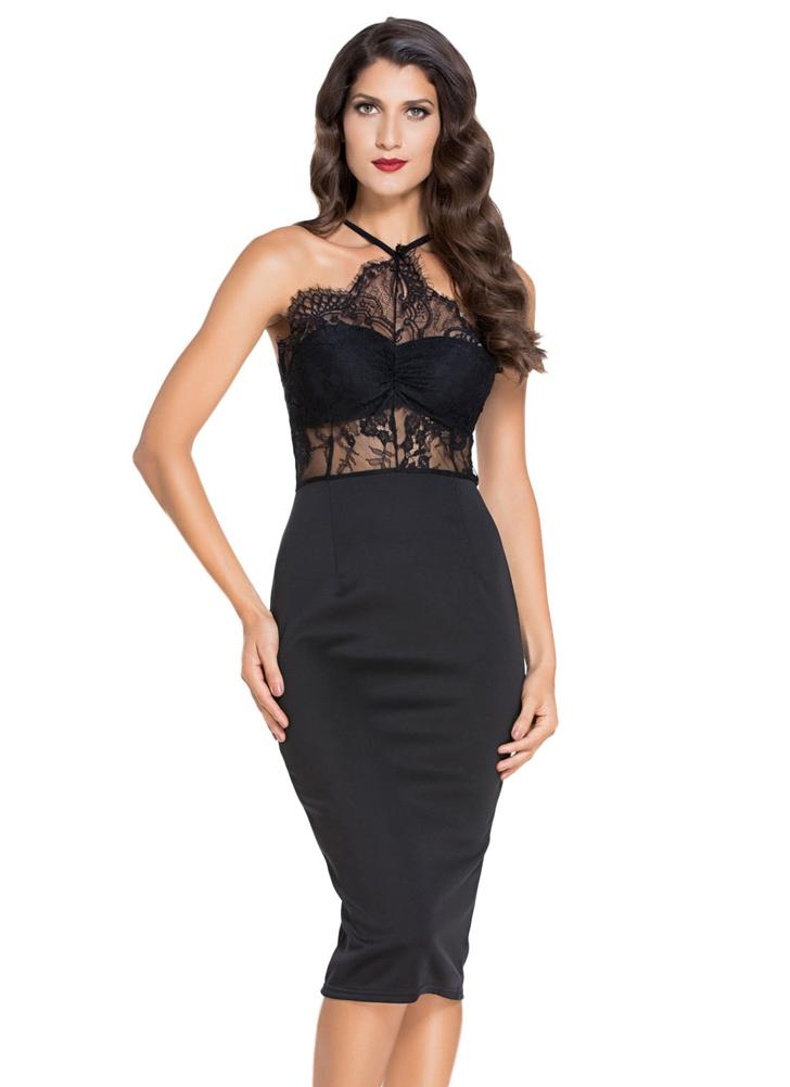 Nueva Europa mujeres vestido hueco hacia fuera encaje espaguetis correa de espalda cremallera Sexy Club Mini vestido negro