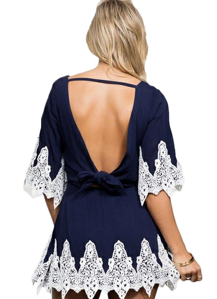 Chic Floral Lace Splice Round Neck Half Sleeve Self-tie Belt Backless Dress