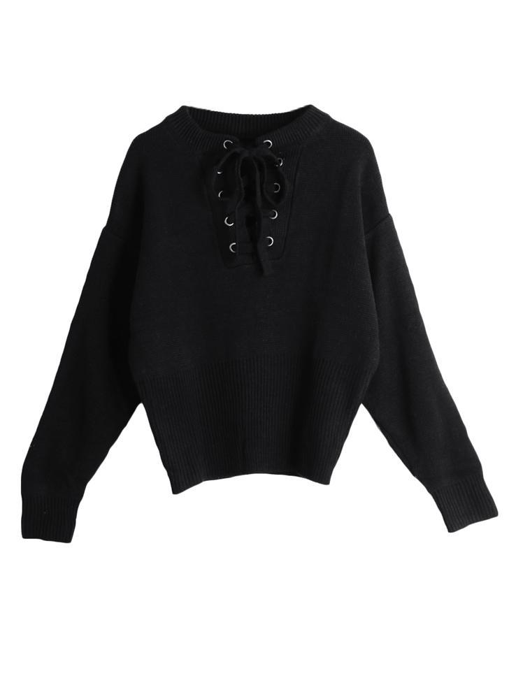 Lace-Up Ribbed Cuffs Hem Sweater