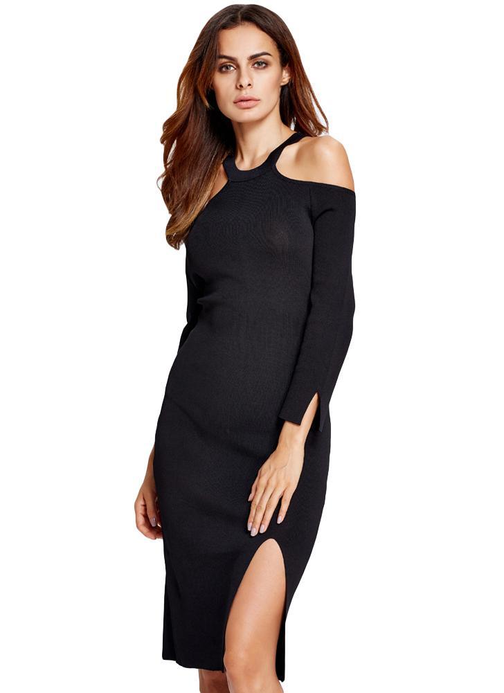 Nuova spalla Split donne sexy lavorato a maglia Vestito aderente Spento  Fisso colori O-Collo 7d6ea886dfc