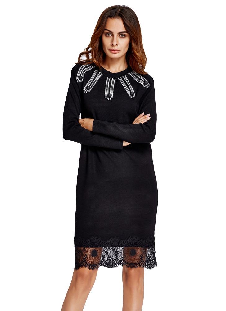 Nouveau Mode Femmes Robe en maille dentelle Splice O-cou à manches longues  chaud Slim 71d4e454de5