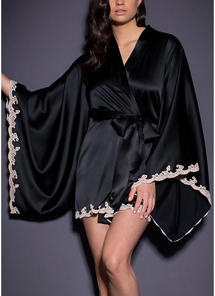 Sexy Frauen Silky Flare Sleeve Dessous Kleid Spitzenbesatz Satin mit Gürtel Chemise Kimono Nachtwäsche