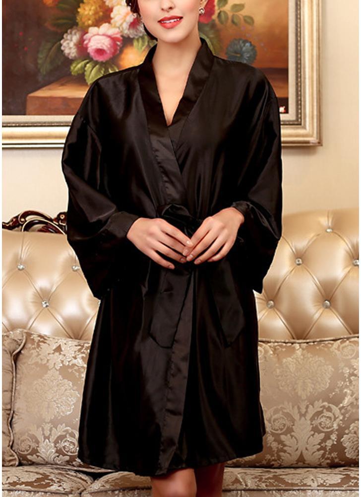 243eb99c91 Women Silk Satin Night Robe Bathrobe Short Kimono Dressing Gown