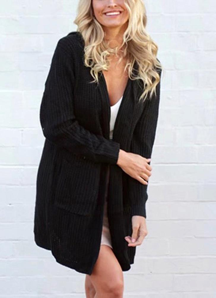 Women Hooded Knitted Cardigan Lace Up Split Long Sleeves Sweater