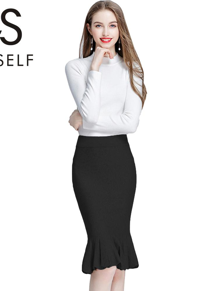 Moda de punto de mediana alta cintura Bodycon falda de las mujeres 4779f015907e