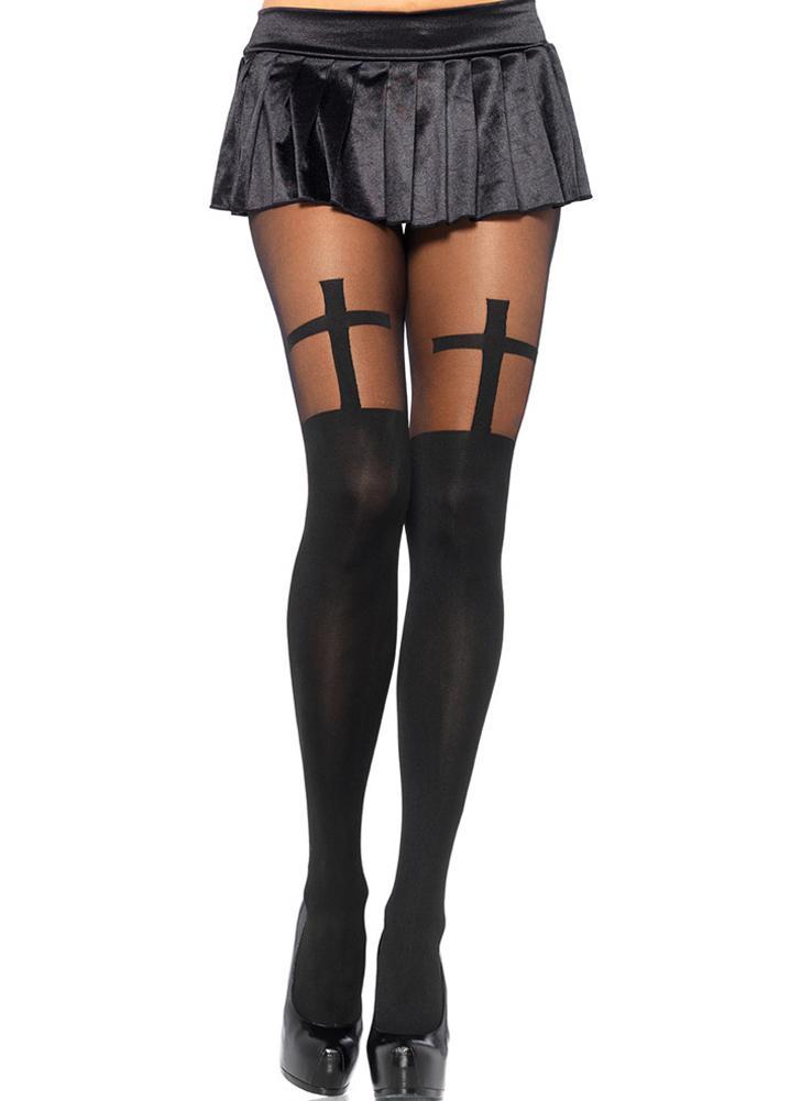 negro Nuevo Sexy mujer pantimedias sin costuras medias opaco patrón ...