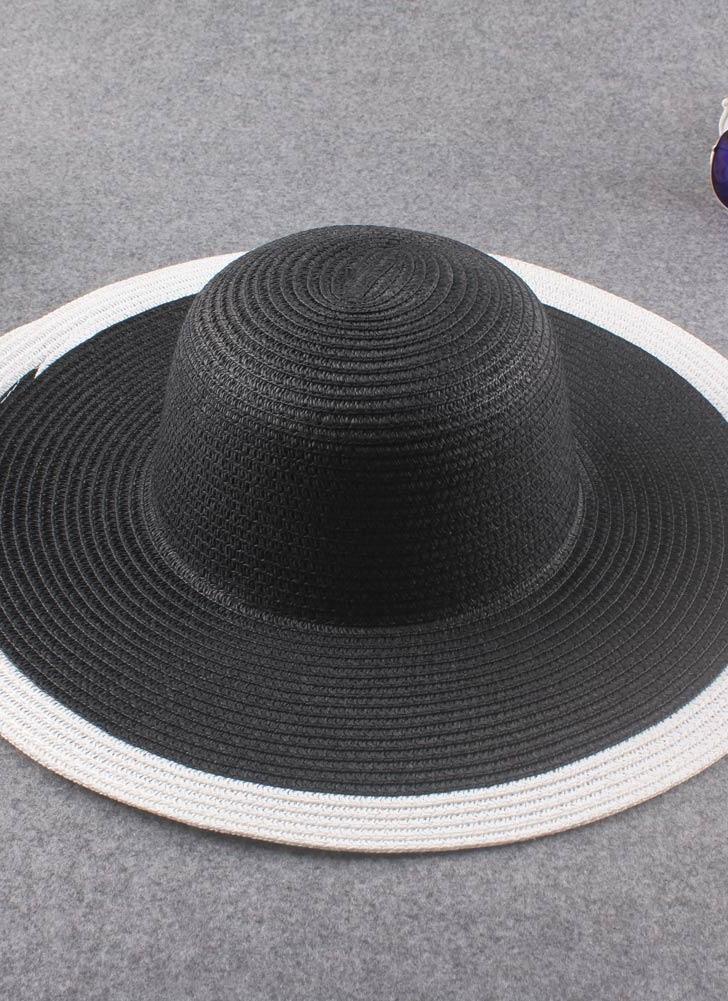 Mulheres Vintage novas chapéu de palha Panamá contraste cor verão sol praia  férias Cap preto 8c6c258c5a0