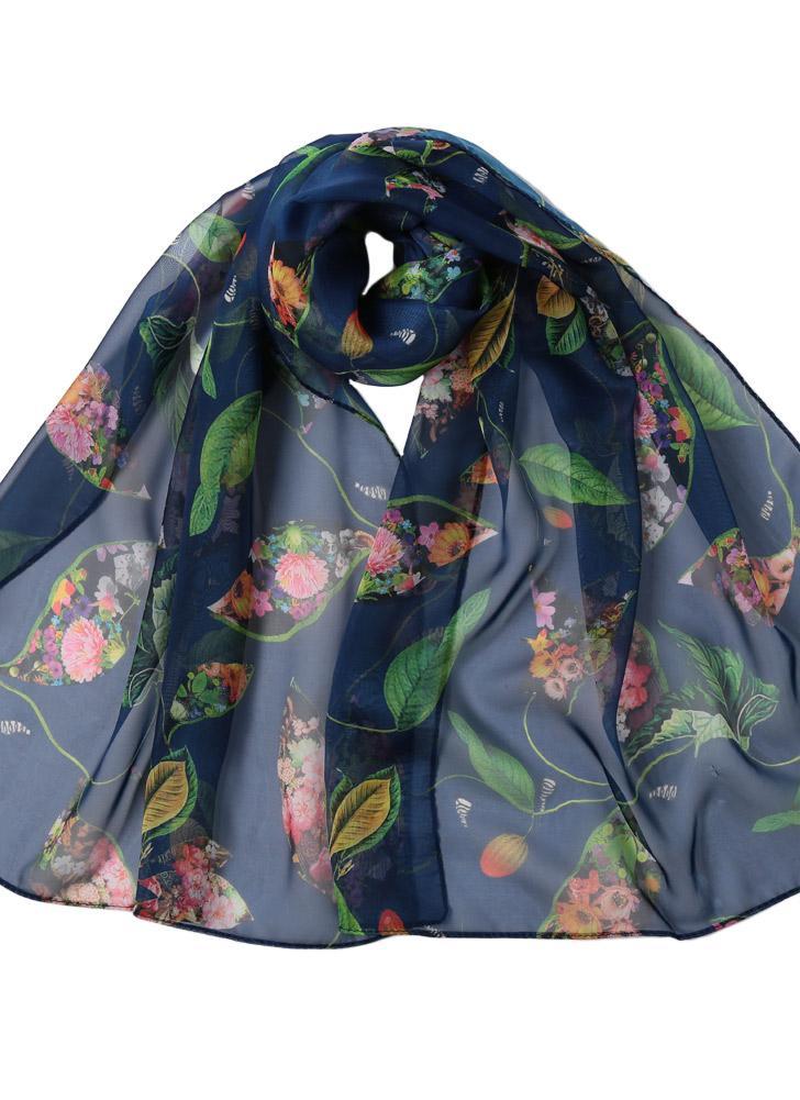 5269a35444500 Mousseline de soie femmes Foulard imprimé floral vintage à long Thin Châle  Spring Silk Plage Pashmina