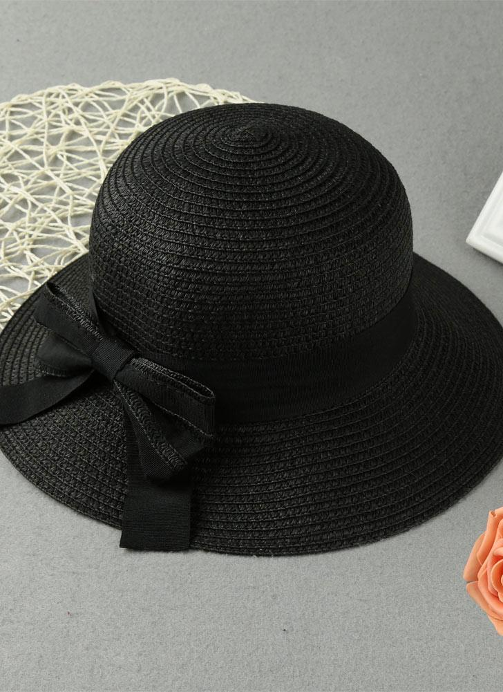 Summer Bow Wide Brim Solid Color Women's Sun Straw Hat