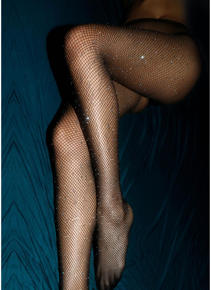 Medias pantimedias de diamantes de imitación de mujer Medias de rejilla de malla de malla