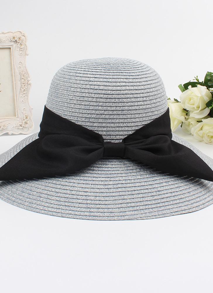 Мода Женщины Sun Hat Большой лук Широкий Brim Складной соломенной шляпе Летний пляж Sun Protection Hat Cap