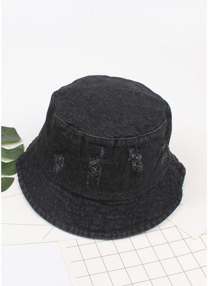 Frauen Männer Bonnie Bucket Hat Denim Distressed Krempe Visor Sun Shade Angeln Packable Sommer Cap
