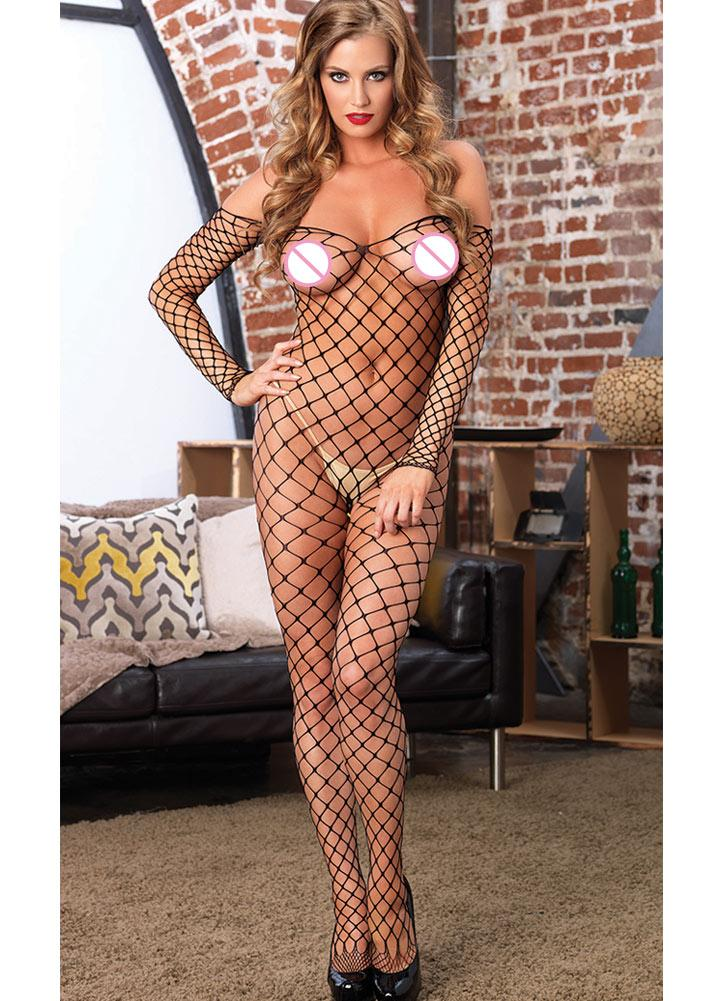 Sexy Off Schulter Backless Open Crotch Hollow Out Fishnet Körper Strumpf