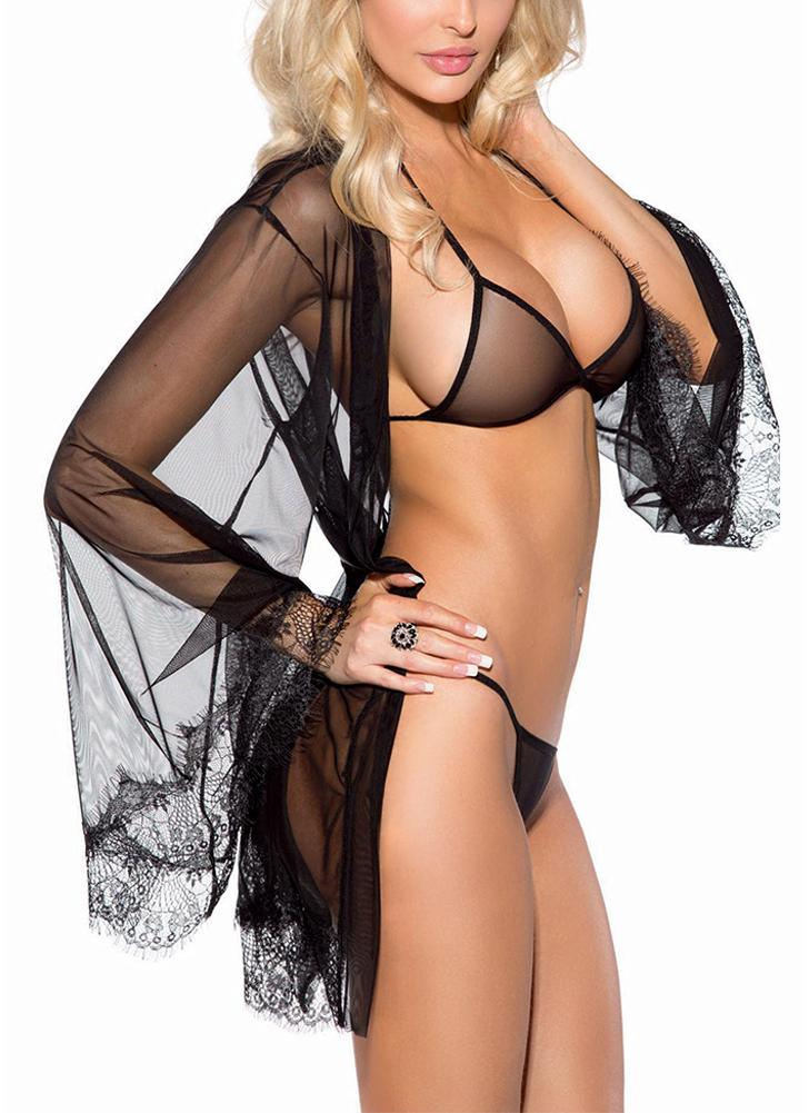 Women Mesh Lingerie Set Triangle Bra & G-string & Open Robe Lace Trim
