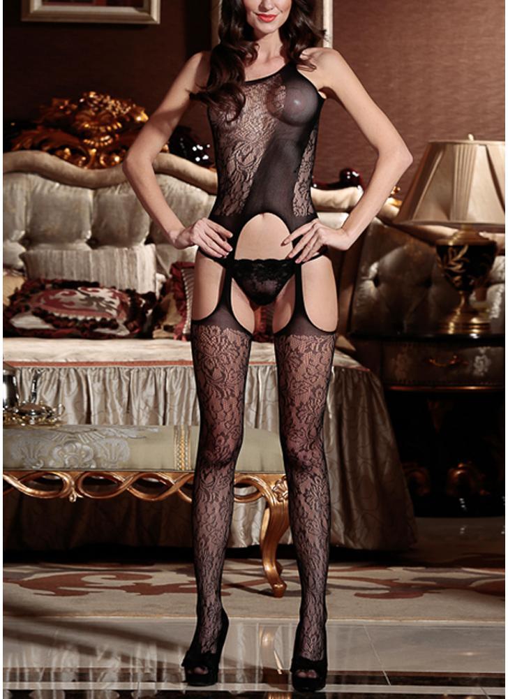 Sexy Frauen Dessous Body Stocking Sheer Mesh Lace Geöffneter Gabelung Erotic Bodysuit