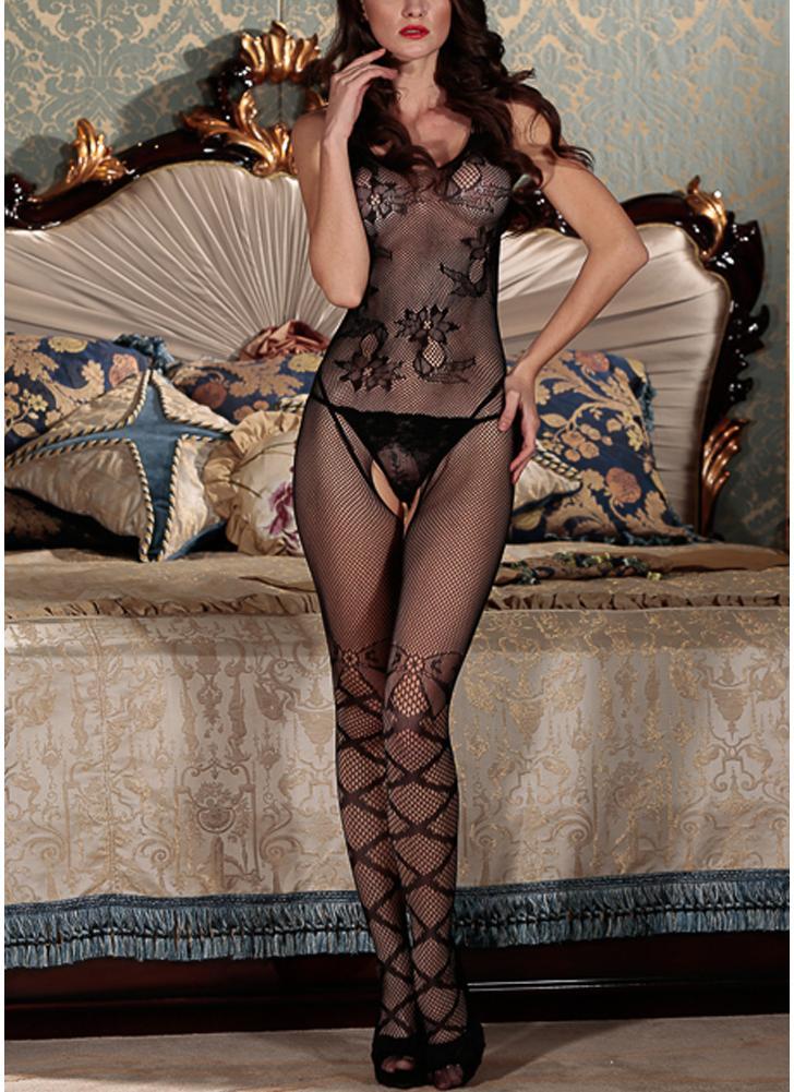 Lingerie Body Stocking Stripe Mesh Hollow Out Cutout Erótico Bodysuit