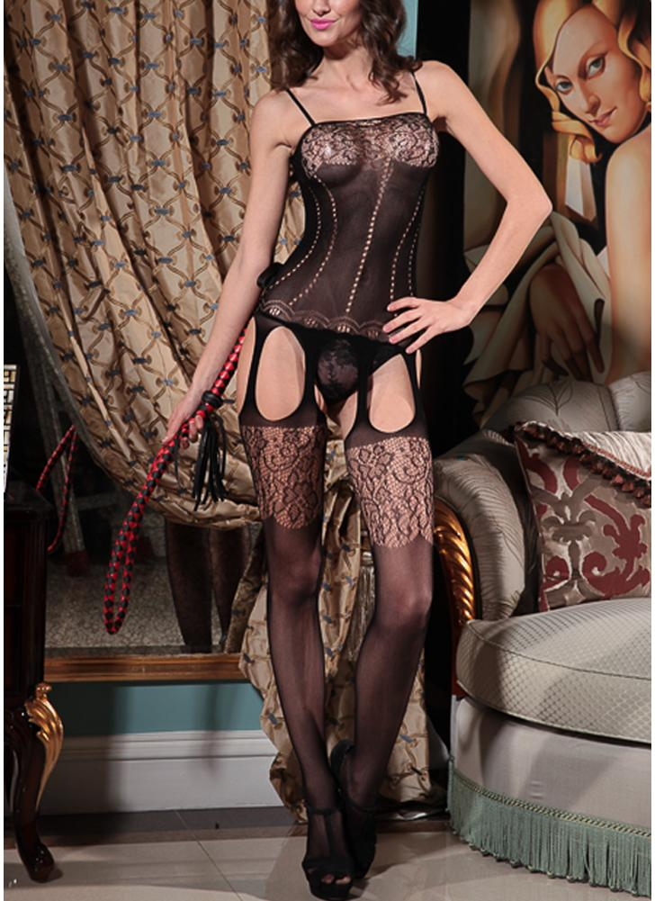 Crotchless Sheer Hollow Out Lace Mesh Body stocking Nightwear