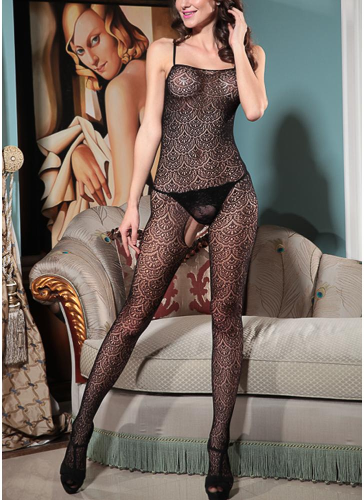 Women Sheer Lace Jumpsuit Body Stocking Bodysuit Spaghetti Strap Backless Lingerie Nightwear