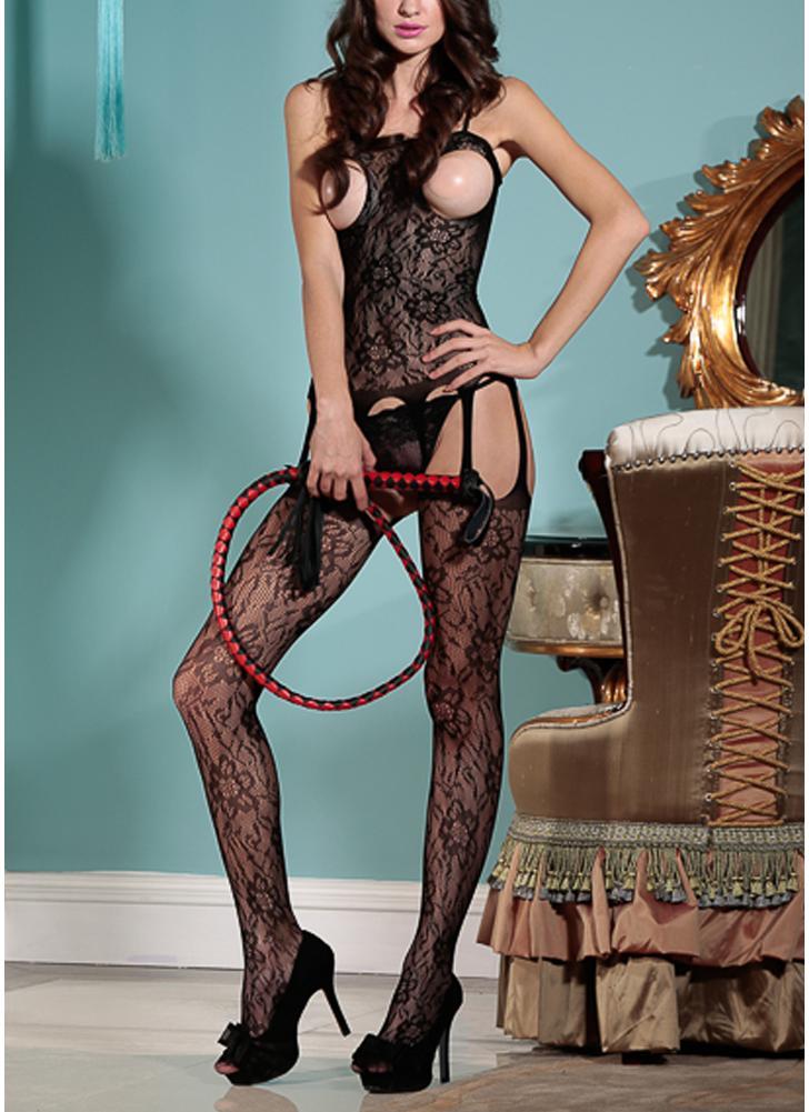 Women Lace Lingerie Bodystocking Sheer Mesh Open Cup Crotchless Erotic Bodysuit Sleepwear Underwear