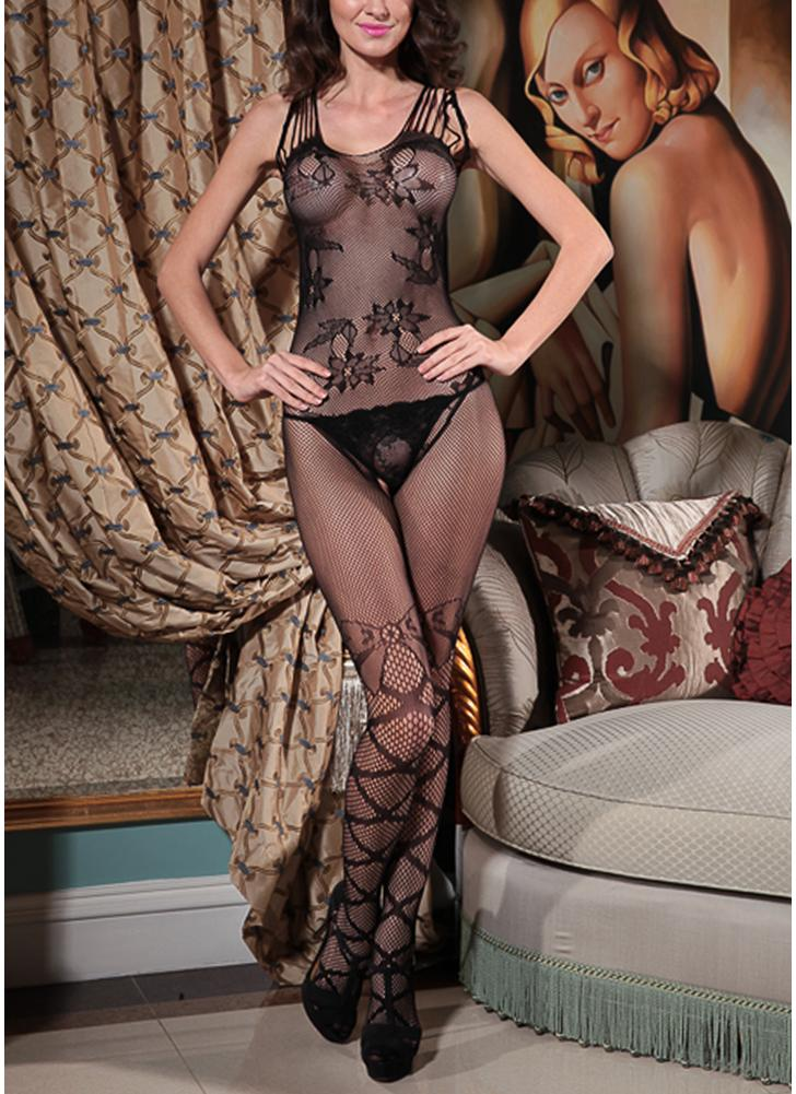 Femmes Résille Lingerie Bodystocking Sheer Mesh Cut Out Crotchless Erotic Body vêtements de nuit sous-vêtements