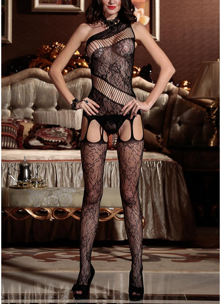 Women Lingerie Bodystockings Mesh Erotic Bodysuit Open Crotch Sleepwear Underwear