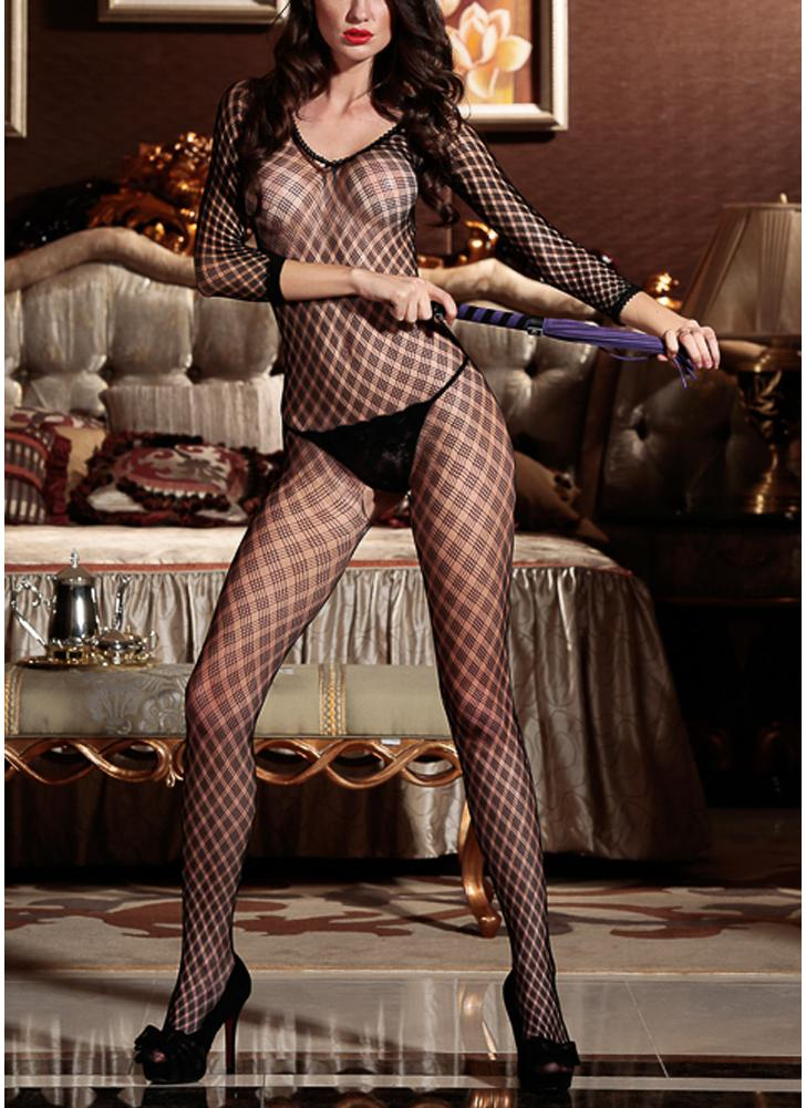 Sheer Mesh Lingerie Bodystockings Hollow Out Crotchless Long Sleeve Erotic Bodysuit