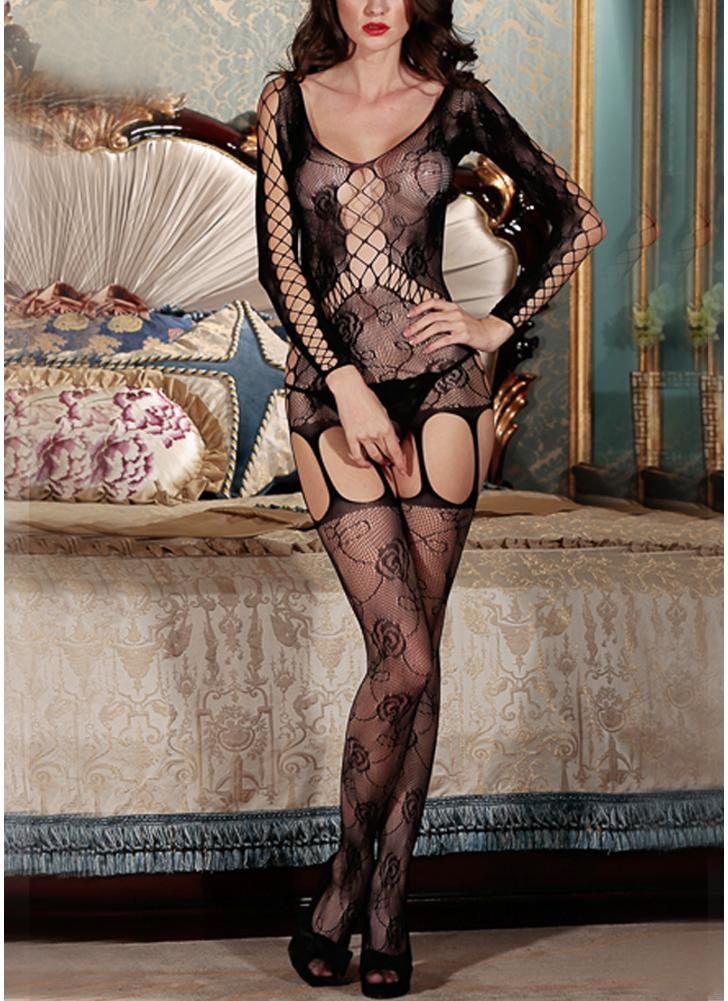 Femmes Erotic Body Stocking Mesh Transparent Ouvert Crotch Cut Out Fishnet