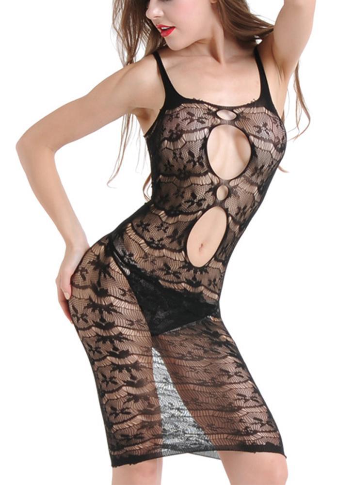 Женщины Эротическое белье Babydoll Sheer Mesh Цветочные кружева Спагетти ремень Backless Sleepwear