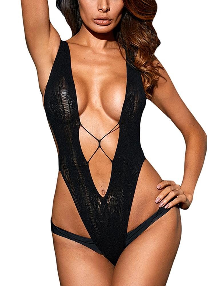 Women Sexy Lingerie Sultry V Shape Sheer Lace Bodysuit  Erotic Teddy One Piece
