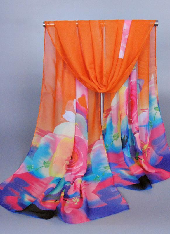 Nueva moda mujeres gasa bufanda contraste flores de colores de impresión fino mantón del Pashmina del palangre