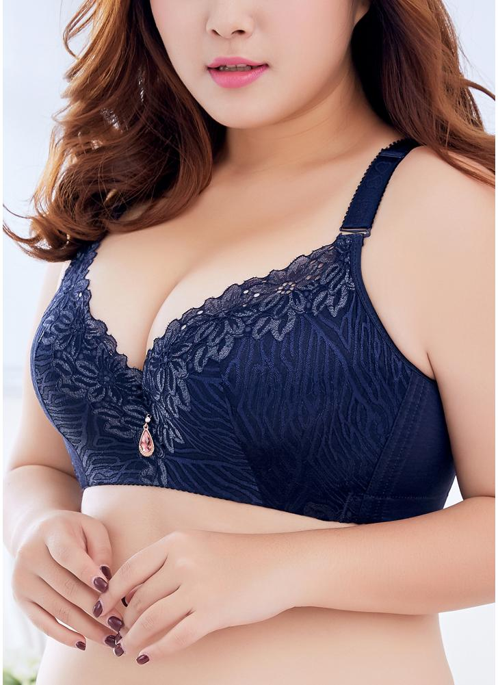 3fba76af02f1 azul escuro 36d Plus Size 3/4 Cup Lace Push Up Bra - Chicuu