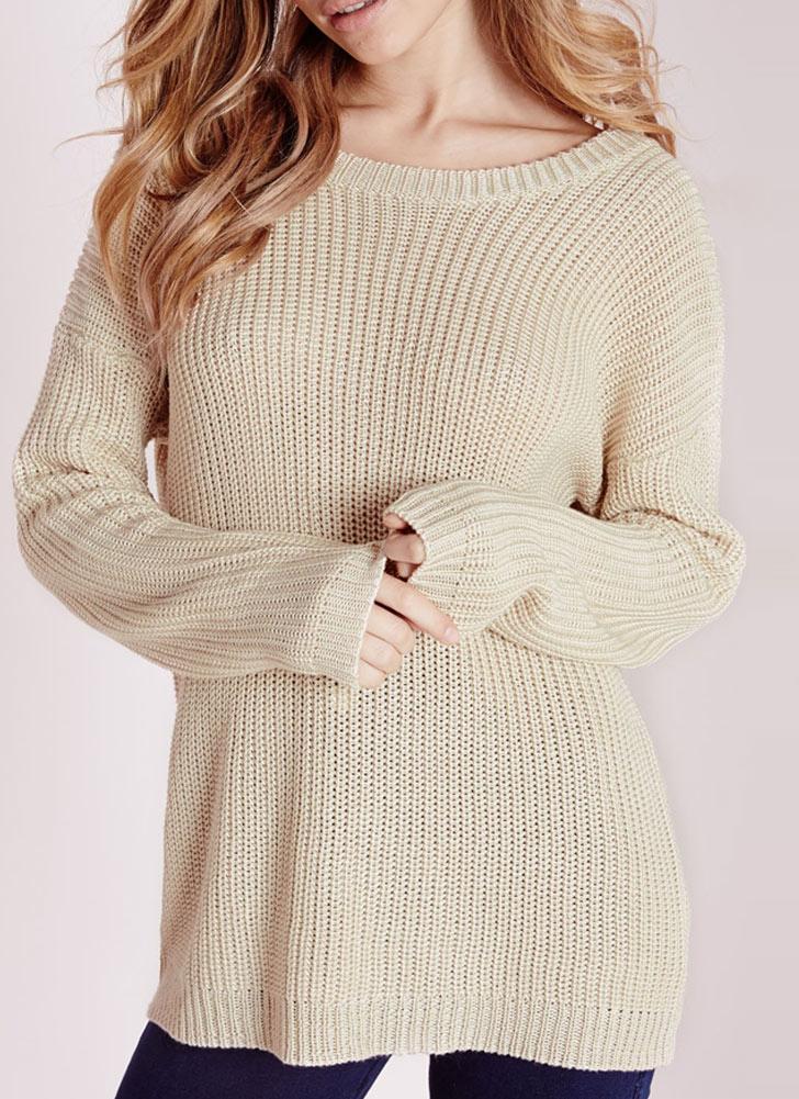 Loose Knitted Sweater Sólido Lace-Up O-cuello de la mujer de manga larga 5d0ae0fd12d63