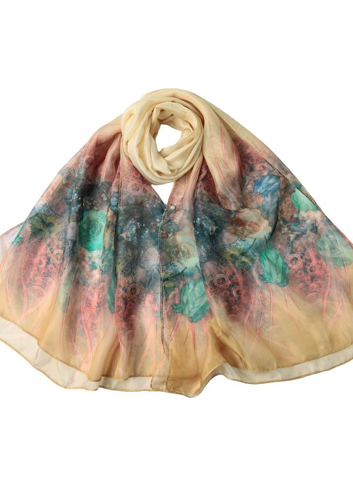 Floral Print Two Tiers Beading Long Thin Scarf