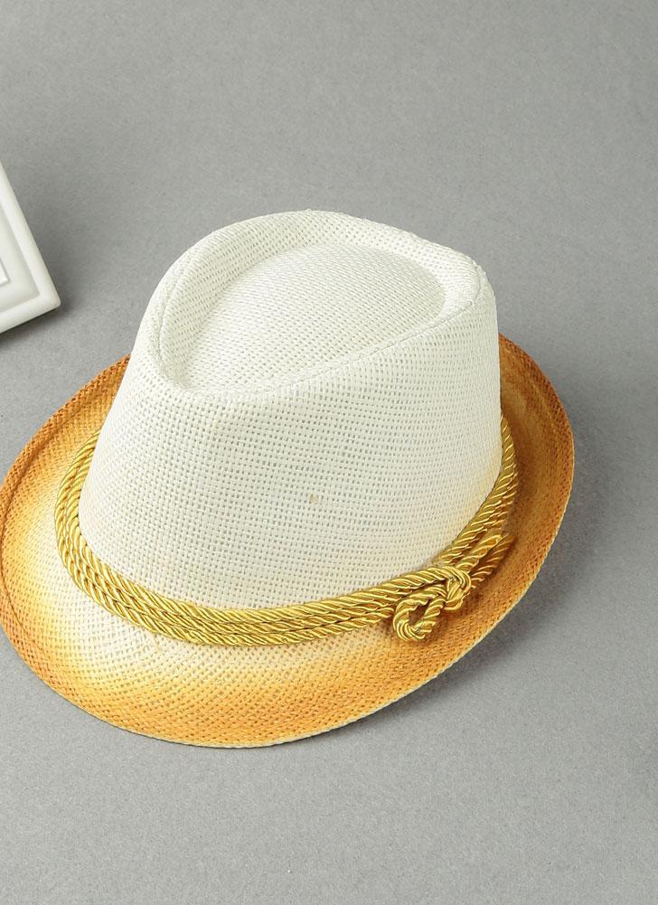 Cappello per il sole di modo delle donne di contrasto di colore paglierino stretta Brim cinghia di estate Sunbonnet Beach Panama Fedora cappello bianco / beige