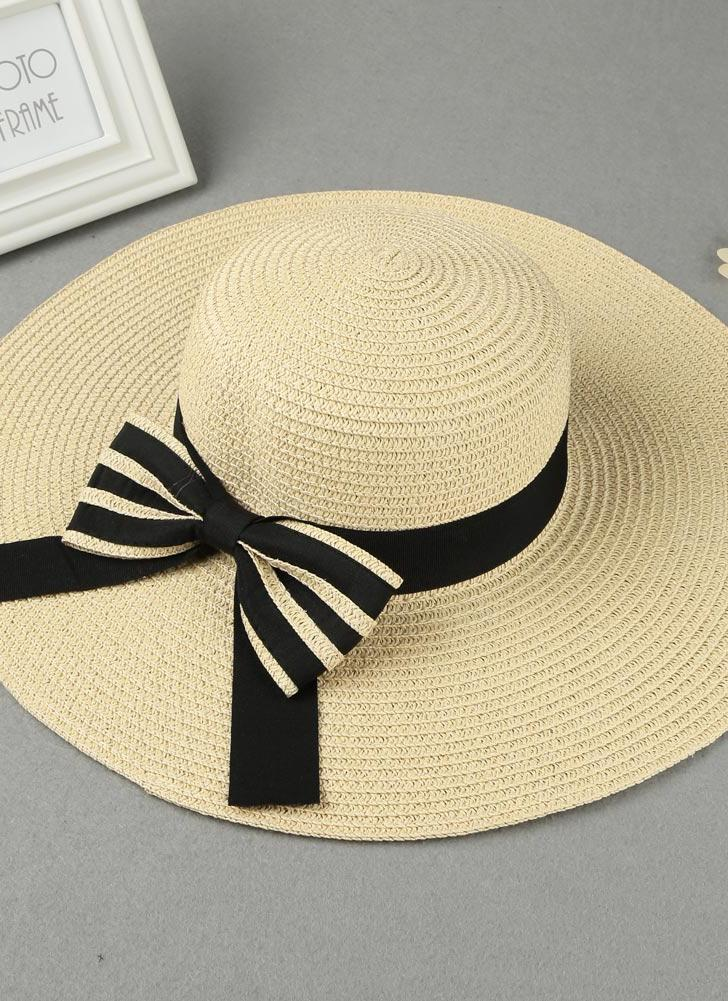 Summer Beach Floppy Wide Brim Bow Foldable Straw Hat