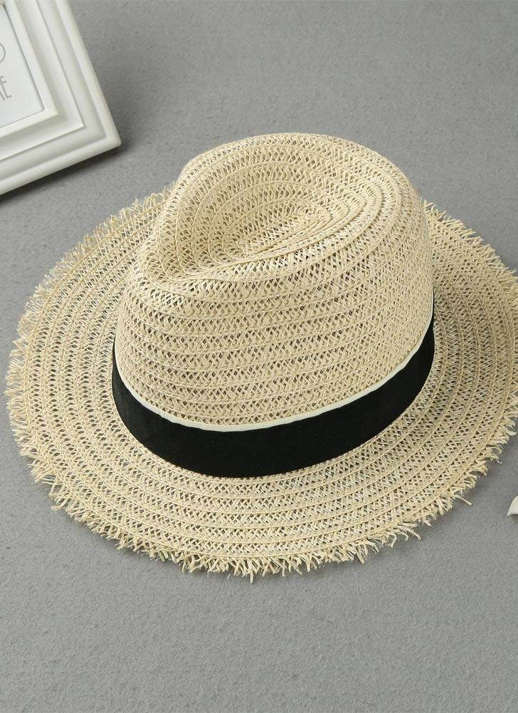 Nouveau Mode Femmes Chapeau de paille Ruban Version large Brim Summer Sun Beach Cap Panama Hat Beige