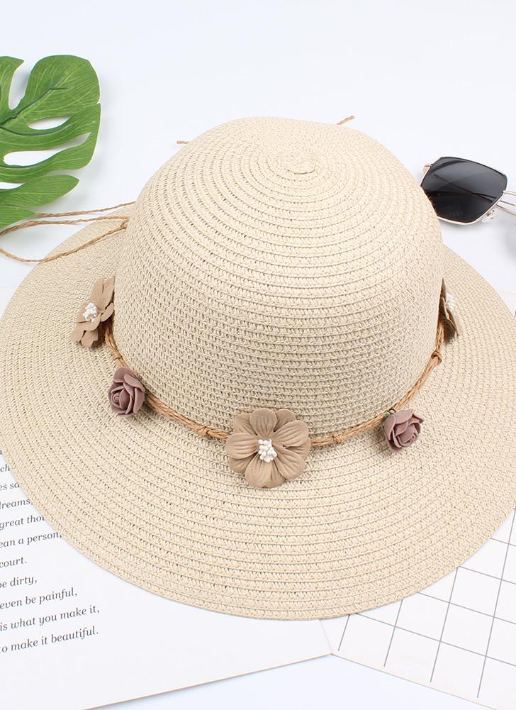 Summer Women Flower Straw Hat Garland Wide Brim Sun Beach Cap Floral Fedora Trilby Hat
