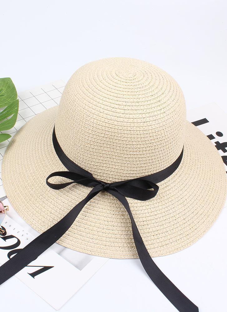 Les femmes d'été paille chapeau ruban Bow bord large Sun Beach Cap vacances Fedora Trilby Hat