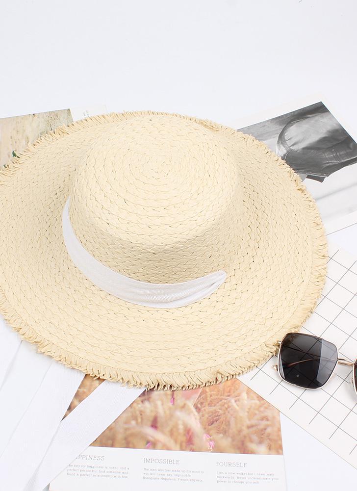 beige Sombrero de paja ancha del vendaje del borde ancho del vendaje ...