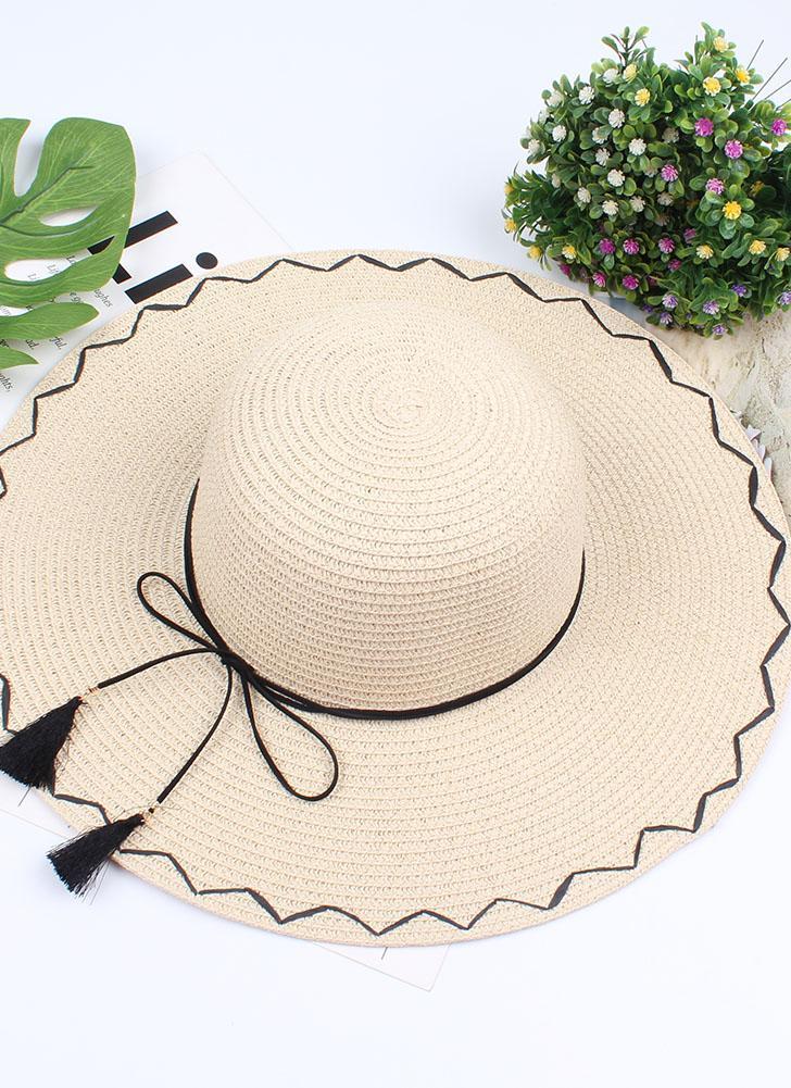 beige Nueva moda plegable de ala ancha sombrero de paja borla ...