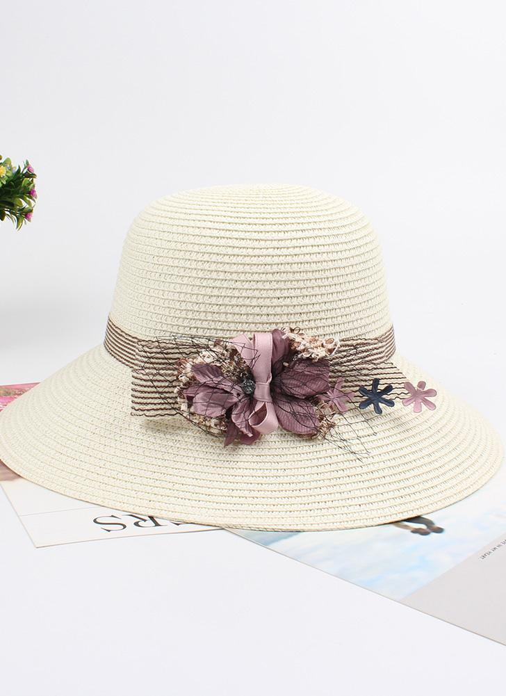 Women Summer Sun Straw Hat Bow Flower Adjustable Dome Panama Beach Holiday Cap
