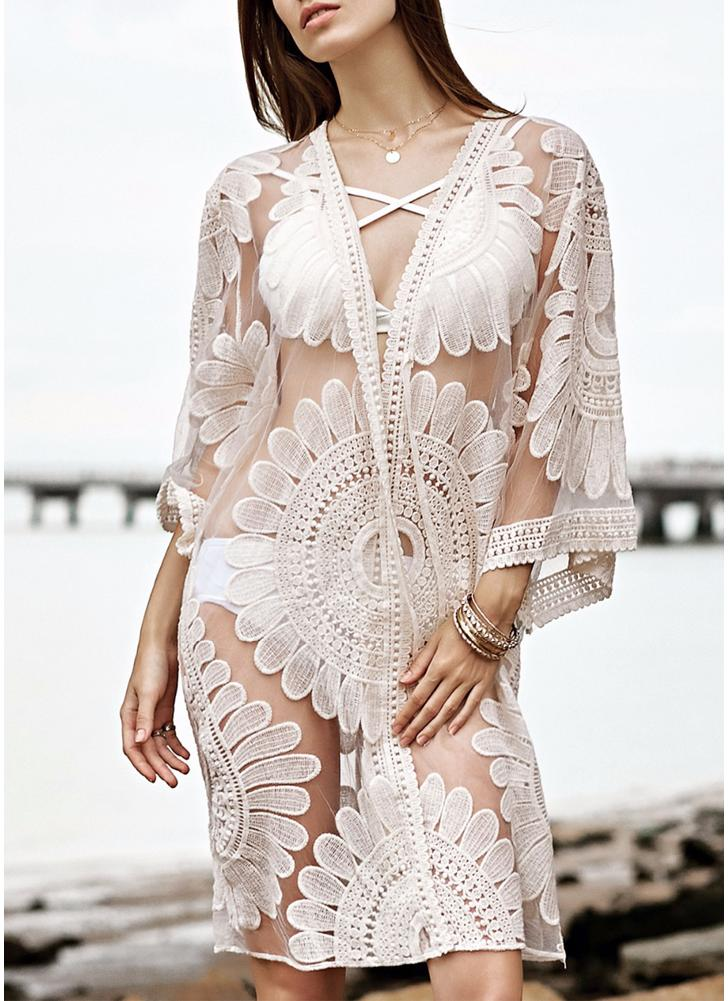 Mesh Floral Ricamo Vedi Attraverso Bikini Bikini Beach Cover Up
