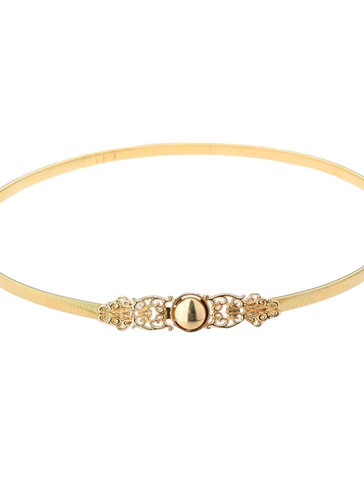 Nouveau mode femmes taille ceinture chaîne couleur or métal creux sur  extensible ceinture élégante mince bande 0ee52f7c0d4