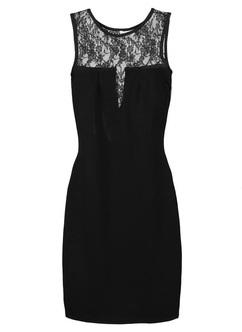 schwarz m Neue Mode Sexy Frauen Damen Kleid floraler Spitze Insert ...