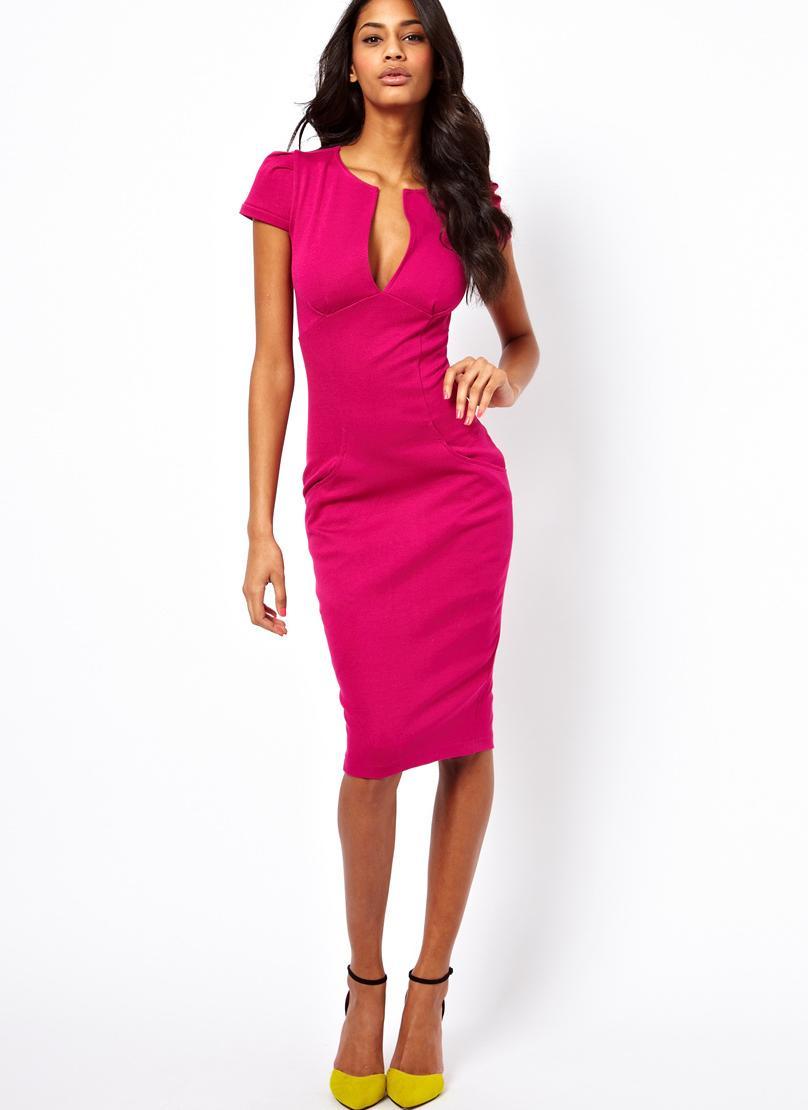 Las mujeres de moda sexy vestido profunda V-cuello Pocket Slim Bodycon Midi  vestido OL d8acc9ab8e6f