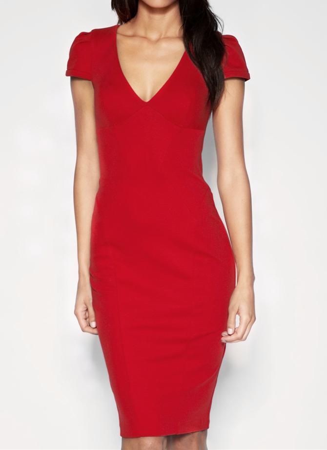 Sexy Plunge V Neck Short Sleeve Midi Slim Bodycon Pencil Dress
